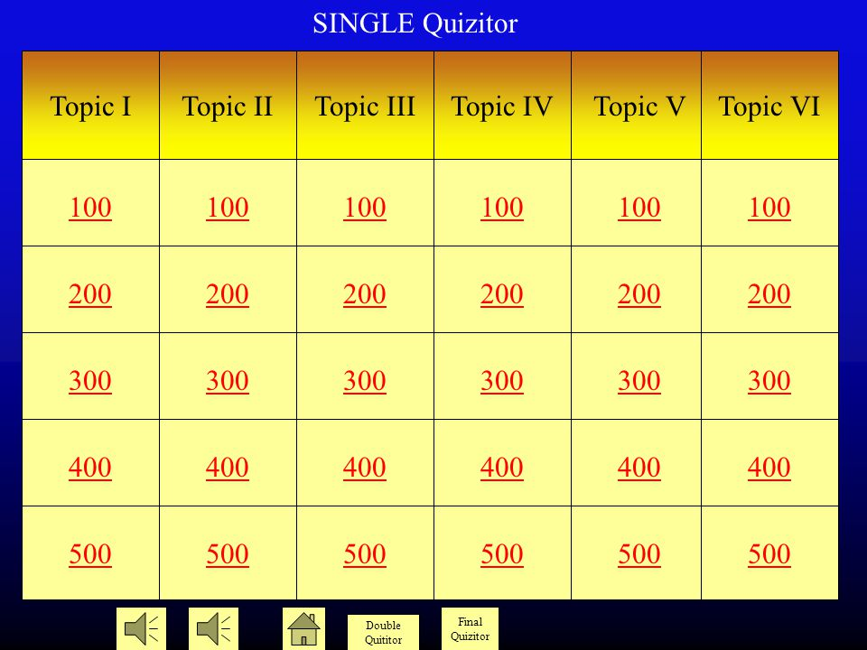 Date Single Quizitor Double Quizitor Final Quizitor © Version 2.1