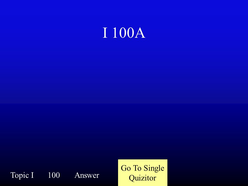 I 100Q Topic I100Question
