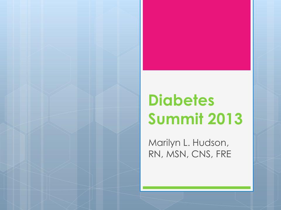 Diabetes Summit 2013 Marilyn L. Hudson, RN, MSN, CNS, FRE