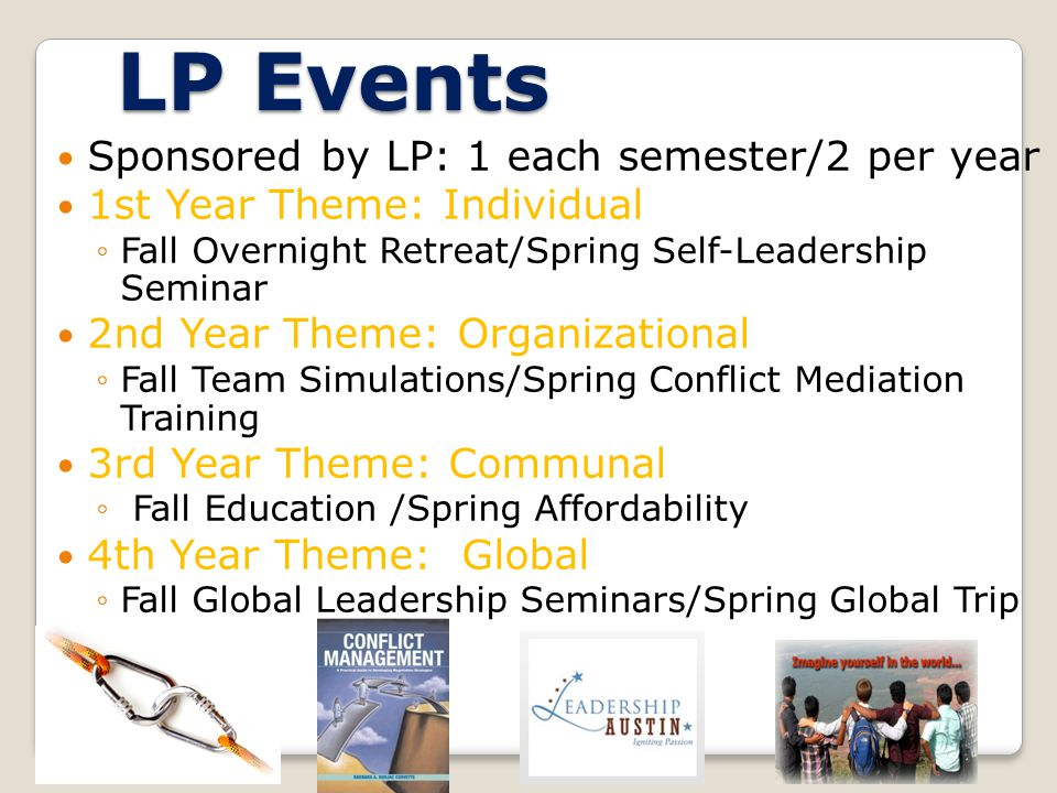 LP Events Sponsored by LP: 1 each semester/2 per year 1st Year Theme: Individual Fall Overnight Retreat/Spring Self-Leadership Seminar 2nd Year Theme: Organizational Fall Team Simulations/Spring Conflict Mediation Training 3rd Year Theme: Communal Fall Education /Spring Affordability 4th Year Theme: Global Fall Global Leadership Seminars/Spring Global Trip