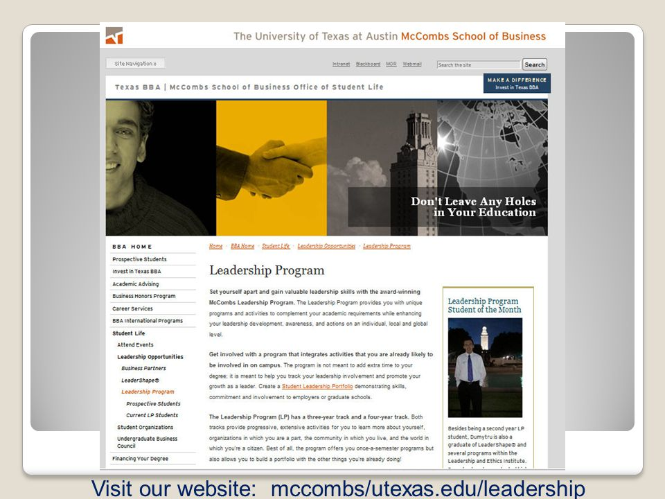 Visit our website: mccombs/utexas.edu/leadership