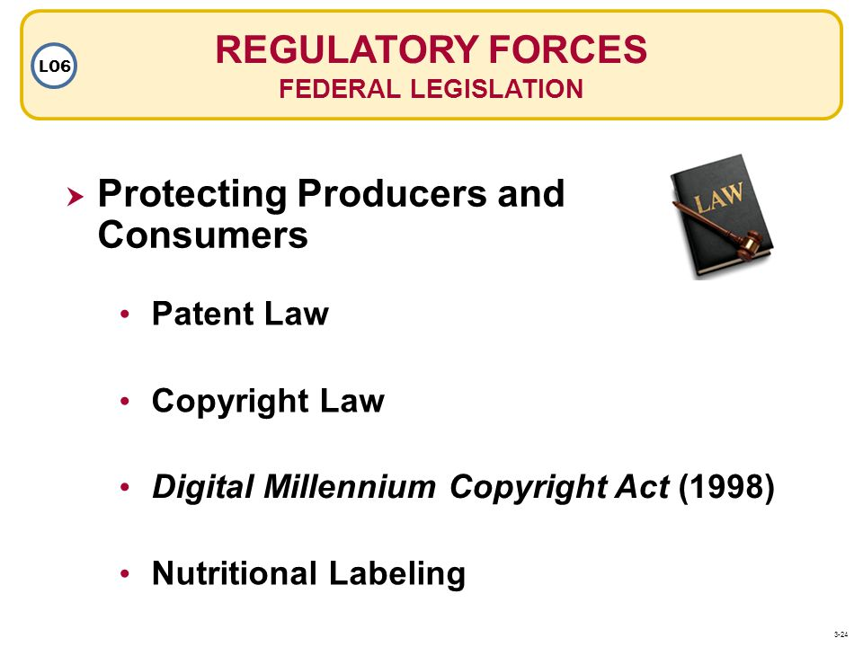 Protecting Producers and Consumers Digital Millennium Copyright Act (1998) Patent Law Copyright Law REGULATORY FORCES FEDERAL LEGISLATION LO6 Nutritio