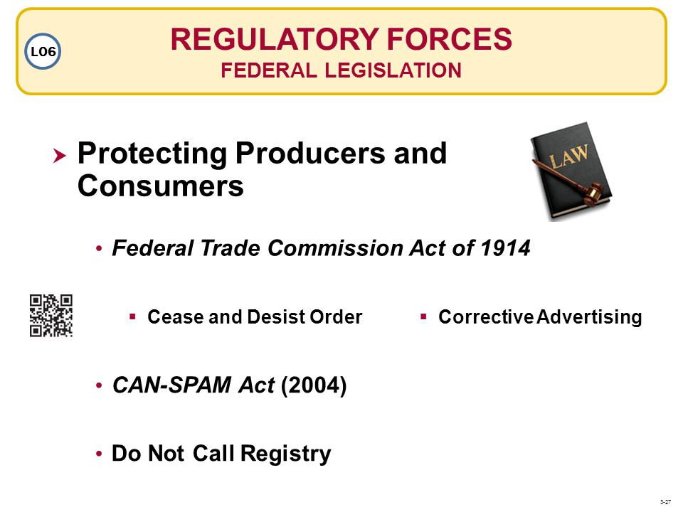 REGULATORY FORCES FEDERAL LEGISLATION LO6 Federal Trade Commission Act of 1914 Do Not Call Registry CAN-SPAM Act (2004) Cease and Desist Order Corrective Advertising Protecting Producers and Consumers 3-27