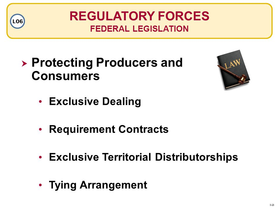 Exclusive Dealing Requirement Contracts Exclusive Territorial Distributorships Tying Arrangement REGULATORY FORCES FEDERAL LEGISLATION LO6 Protecting Producers and Consumers 3-28