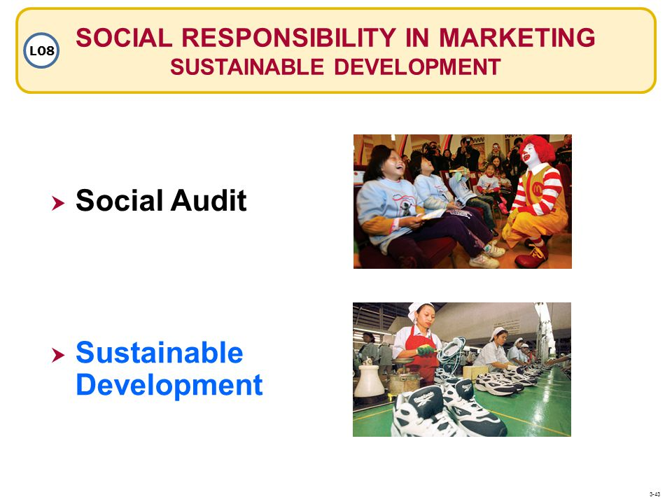 SOCIAL RESPONSIBILITY IN MARKETING SUSTAINABLE DEVELOPMENT LO8 Social Audit Sustainable Development Sustainable Development 3-43