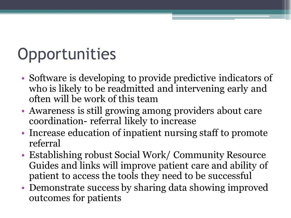 Opportunities Software is developing to provide predictive indicators of who is likely to be readmitted and intervening early and often will be work of this team Awareness is still growing among providers about care coordination- referral likely to increase Increase education of inpatient nursing staff to promote referral Establishing robust Social Work/ Community Resource Guides and links will improve patient care and ability of patient to access the tools they need to be successful Demonstrate success by sharing data showing improved outcomes for patients