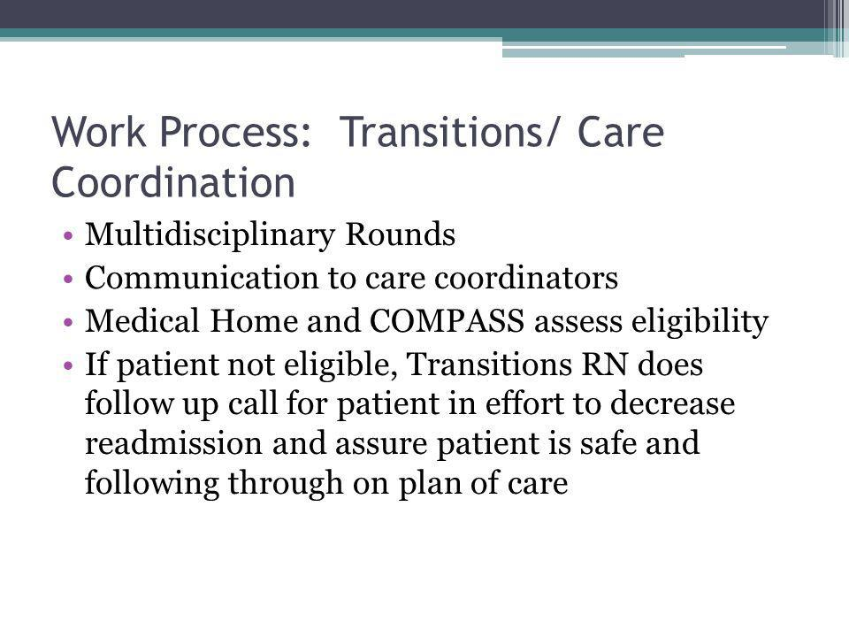 Work Process: Transitions/ Care Coordination Multidisciplinary Rounds Communication to care coordinators Medical Home and COMPASS assess eligibility If patient not eligible, Transitions RN does follow up call for patient in effort to decrease readmission and assure patient is safe and following through on plan of care