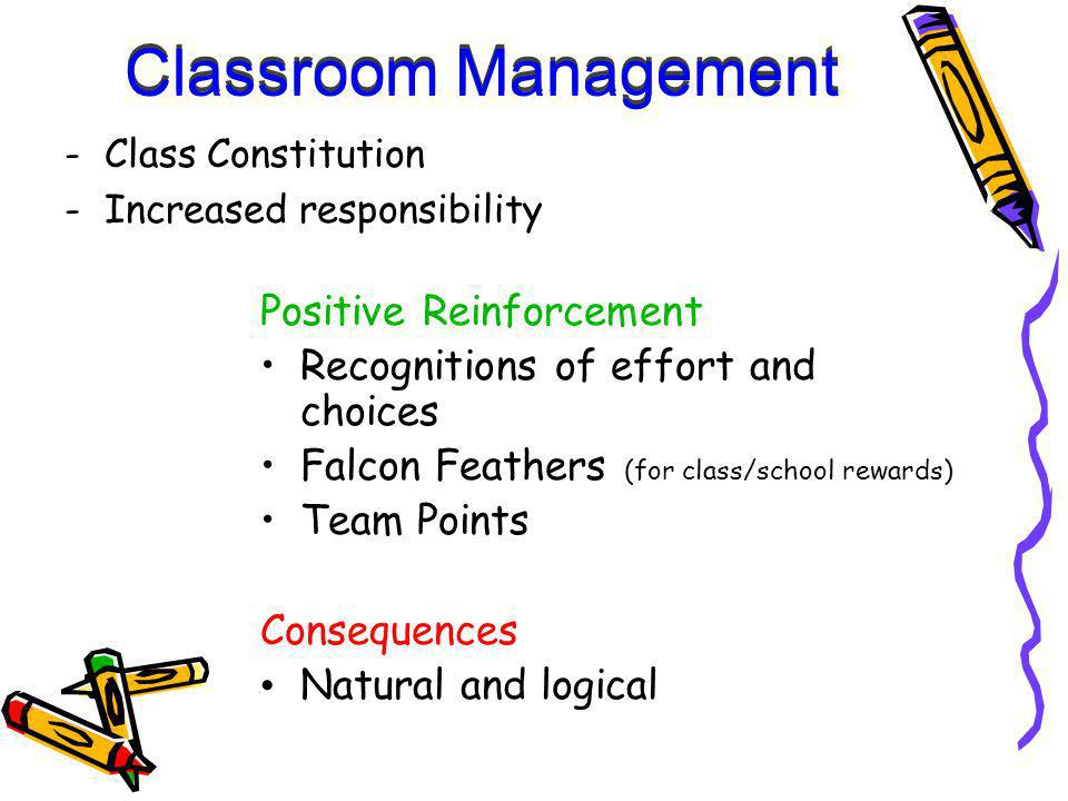 Positive Reinforcement Recognitions of effort and choices Falcon Feathers (for class/school rewards) Team Points Consequences Natural and logical -Class Constitution -Increased responsibility Classroom Management