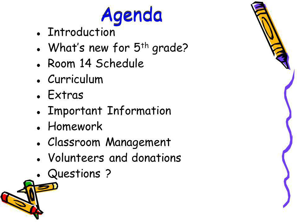 Agenda Introduction Whats new for 5 th grade.