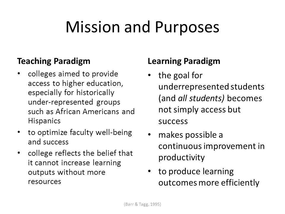 Mission and Purposes Teaching Paradigm colleges aimed to provide access to higher education, especially for historically under-represented groups such