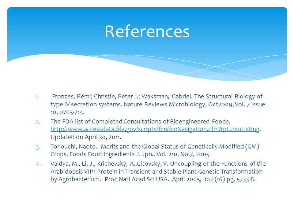 References 1. Fronzes, Rémi; Christie, Peter J.; Waksman, Gabriel.