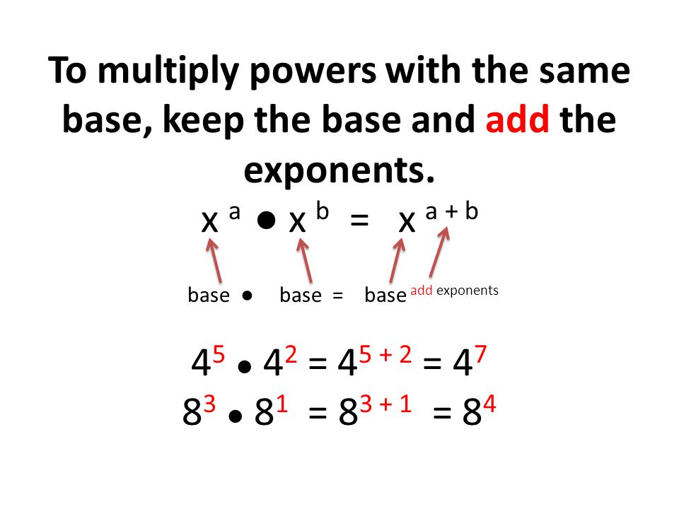Example 1 Simplify and write in exponential form (5) 3 (5) 4 (5) 3 + 4 (5) 7 Solution What is exponential form.
