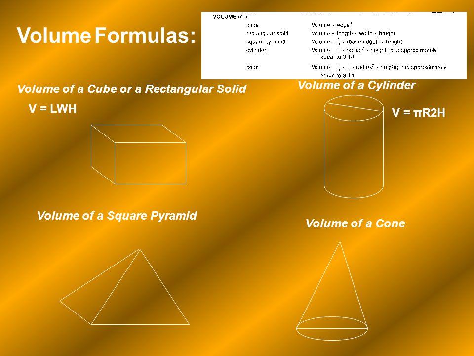 Volume Formulas: Volume of a Cube or a Rectangular Solid V = LWH Volume of a Cylinder V = πR2H Volume of a Square Pyramid Volume of a Cone