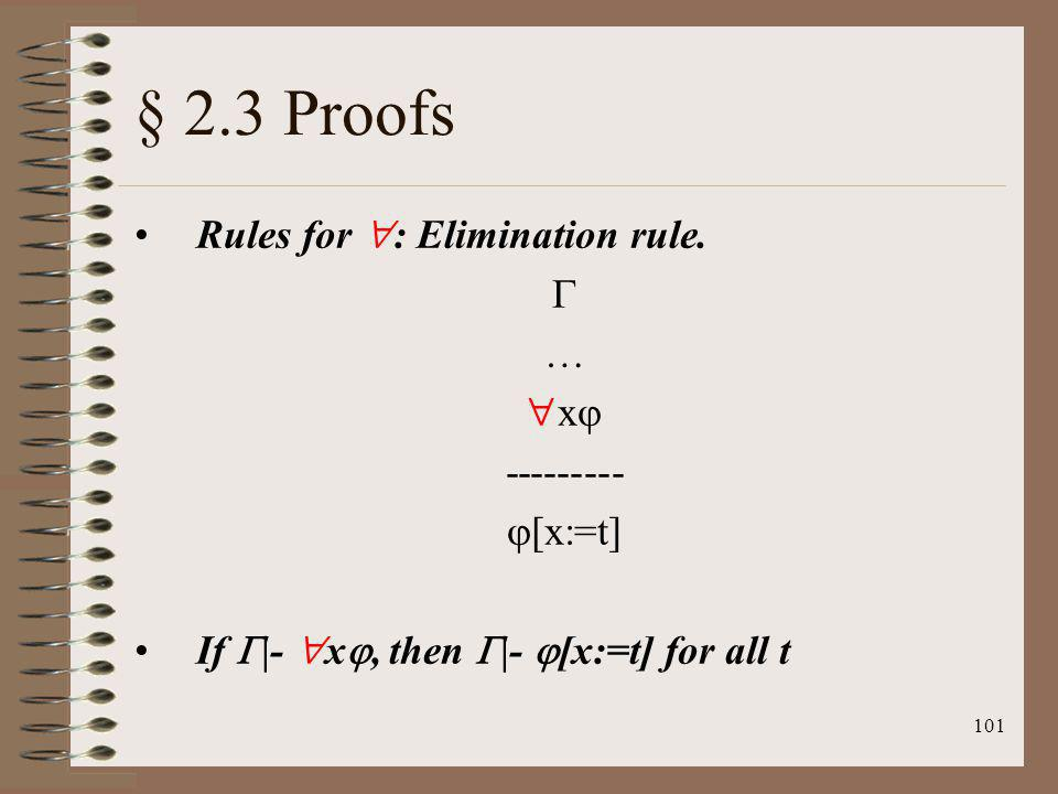 101 § 2.3 Proofs Rules for : Elimination rule. … x --------- [x:=t] If |- x, then |- [x:=t] for all t