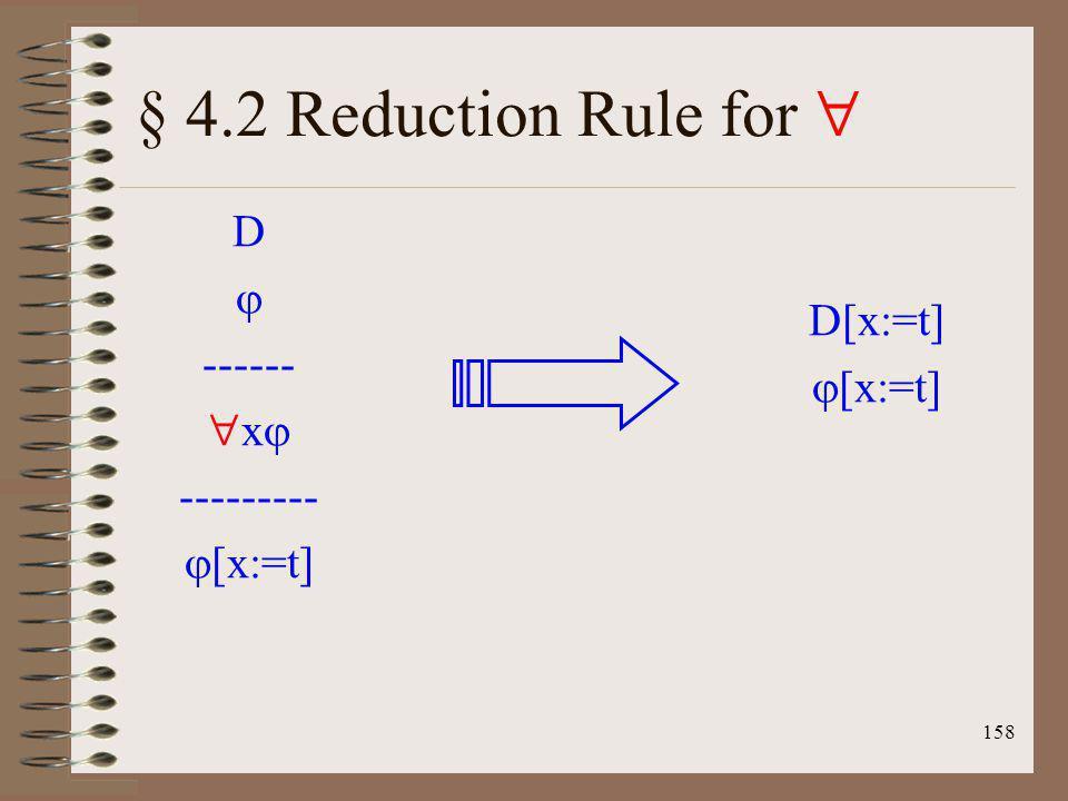 158 § 4.2 Reduction Rule for D ------ x --------- [x:=t] D[x:=t] [x:=t]