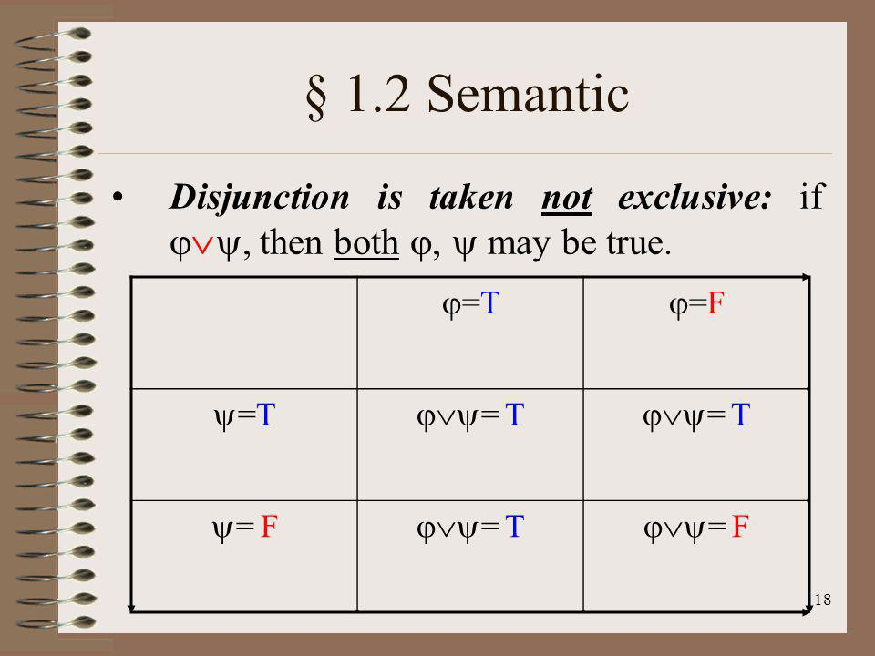 18 § 1.2 Semantic Disjunction is taken not exclusive: if, then both, may be true. =T =F =T = F = T = F