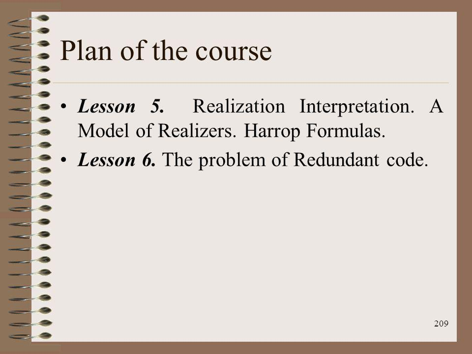 209 Plan of the course Lesson 5. Realization Interpretation. A Model of Realizers. Harrop Formulas. Lesson 6. The problem of Redundant code.