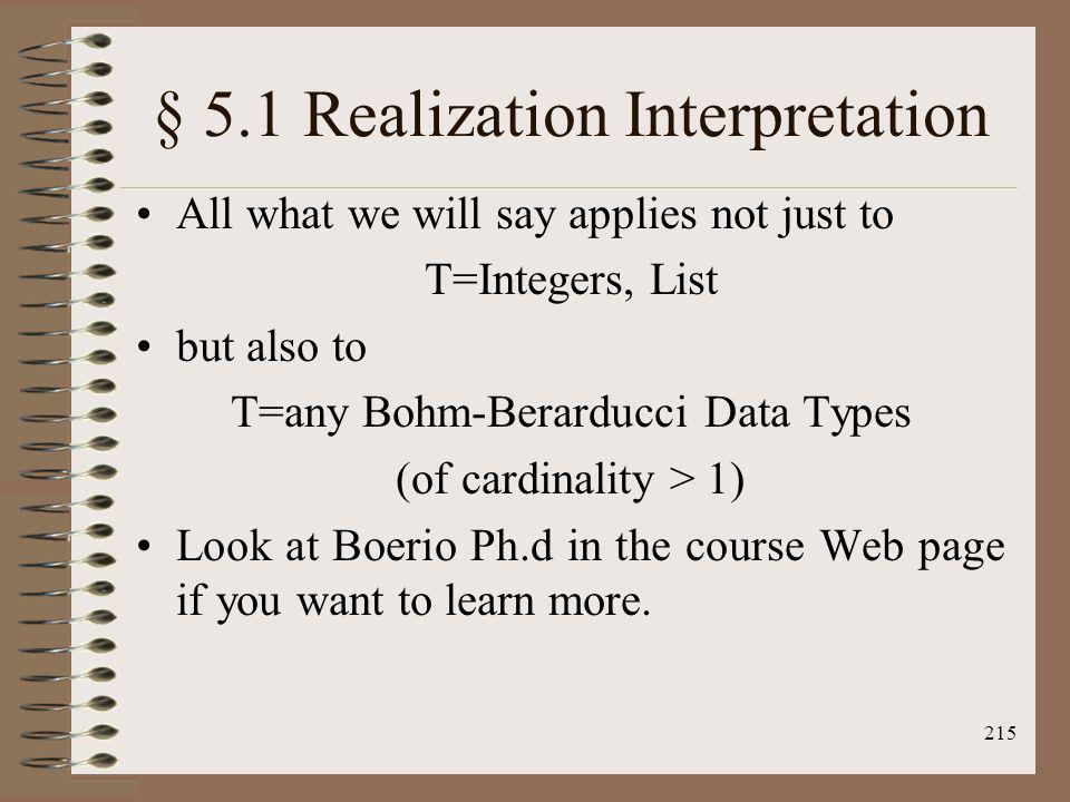 215 § 5.1 Realization Interpretation All what we will say applies not just to T=Integers, List but also to T=any Bohm-Berarducci Data Types (of cardin