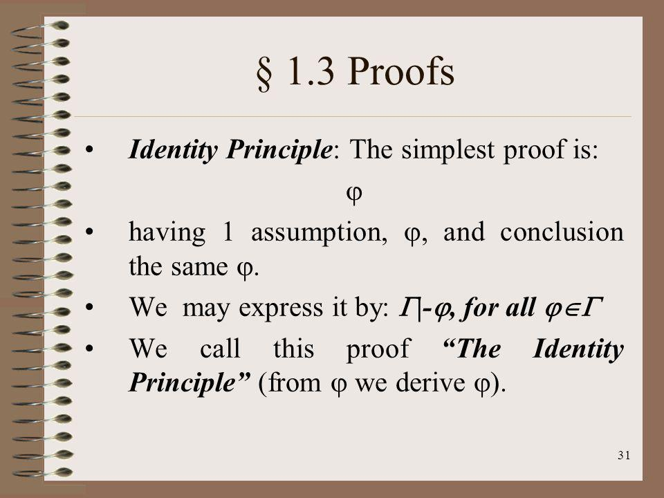 31 § 1.3 Proofs Identity Principle: The simplest proof is: having 1 assumption,, and conclusion the same. We may express it by: |-, for all We call th