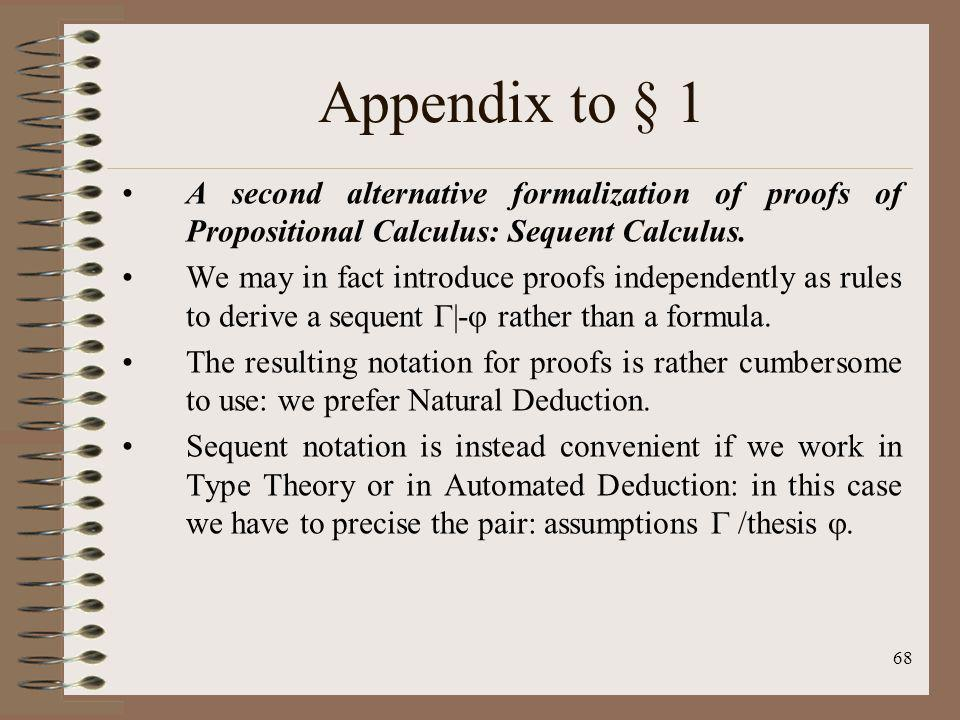 68 Appendix to § 1 A second alternative formalization of proofs of Propositional Calculus: Sequent Calculus. We may in fact introduce proofs independe