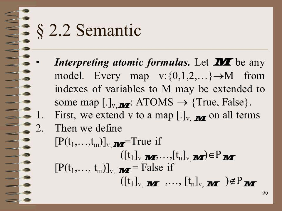 90 § 2.2 Semantic Interpreting atomic formulas. Let M be any model. Every map v:{0,1,2,…} M from indexes of variables to M may be extended to some map