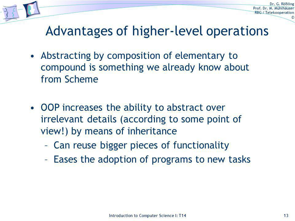 Dr. G. Rößling Prof. Dr. M. Mühlhäuser RBG / Telekooperation © Introduction to Computer Science I: T14 Advantages of higher-level operations Abstracti