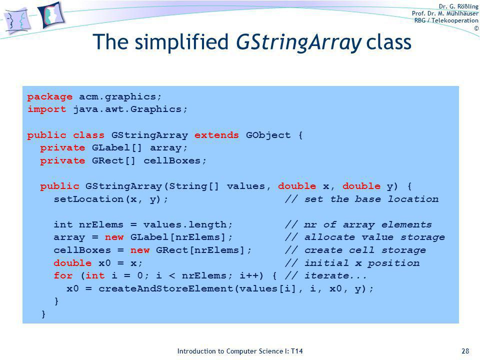 Dr. G. Rößling Prof. Dr. M. Mühlhäuser RBG / Telekooperation © Introduction to Computer Science I: T14 The simplified GStringArray class 28 package ac