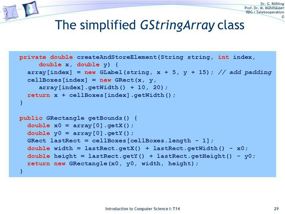 Dr. G. Rößling Prof. Dr. M. Mühlhäuser RBG / Telekooperation © Introduction to Computer Science I: T14 The simplified GStringArray class 29 private do