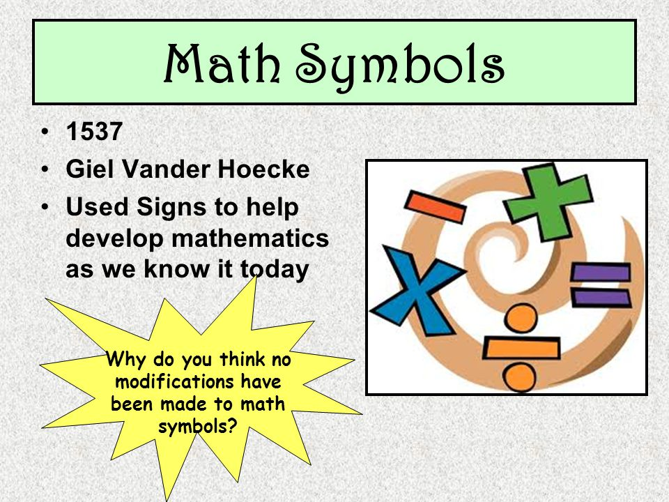 Math Symbols 1537 Giel Vander Hoecke Used Signs to help develop mathematics as we know it today Why do you think no modifications have been made to math symbols?