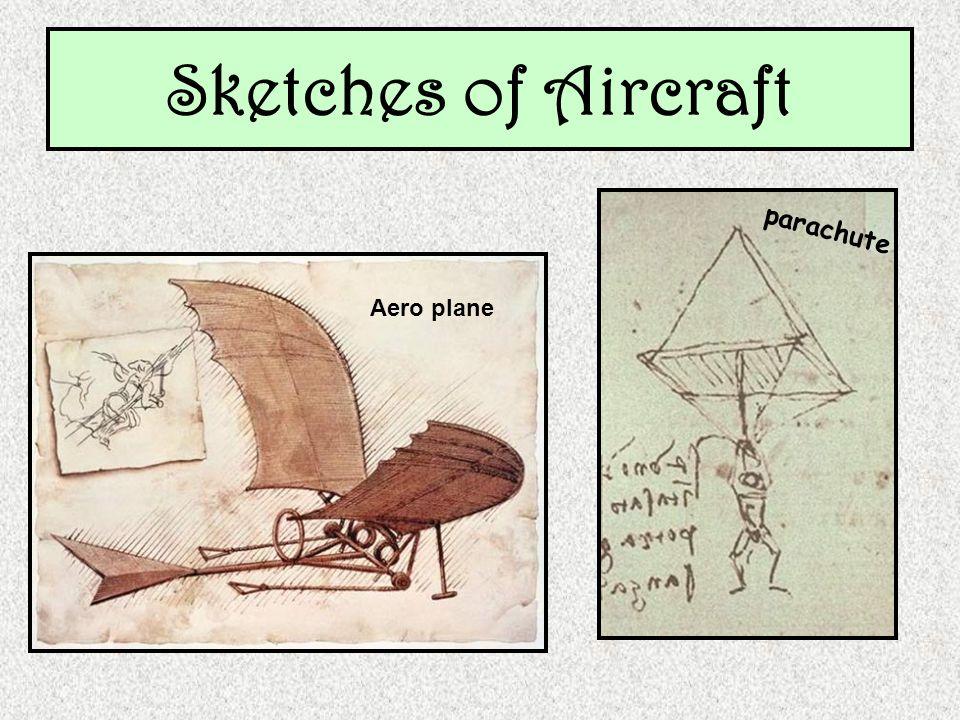 Sketches of Aircraft parachute Aero plane