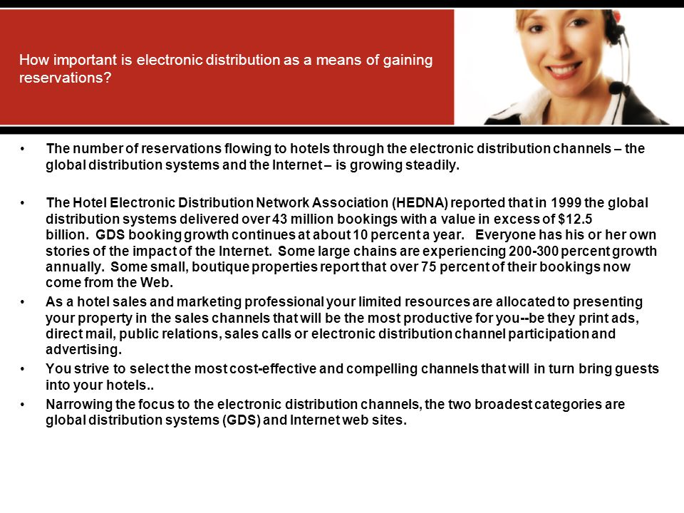 How important is electronic distribution as a means of gaining reservations.