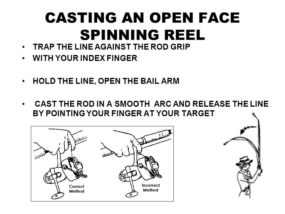 CASTING A CLOSED FACE PUSH BUTTON REEL PRESS DOWN FIRMLY ON THE RELEASE BUTTON HOLD ROD STREIGHT UP WITH FINGER ON THE BUTTON LOOK BEHINE YOU TO MAKE SURE ALL IS CLEAR GO FORWARD WITH THE ROD LET GO OF THE BUTTON ONCE LURE HITS THE WATER TURN THE HANDLE