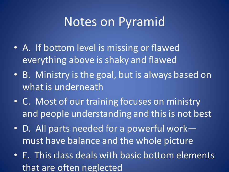 Notes on Pyramid A. If bottom level is missing or flawed everything above is shaky and flawed B. Ministry is the goal, but is always based on what is