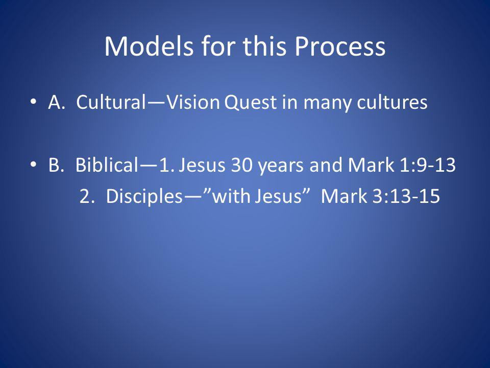 Models for this Process A. CulturalVision Quest in many cultures B. Biblical1. Jesus 30 years and Mark 1:9-13 2. Discipleswith Jesus Mark 3:13-15