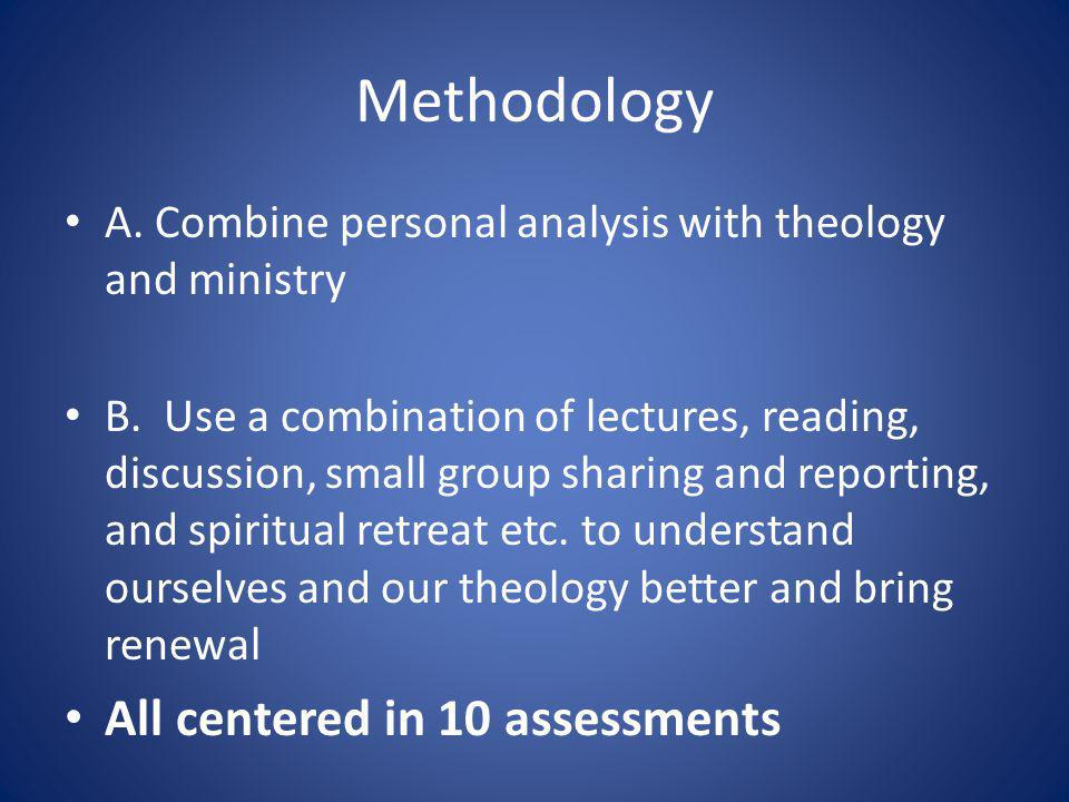 Methodology A. Combine personal analysis with theology and ministry B.