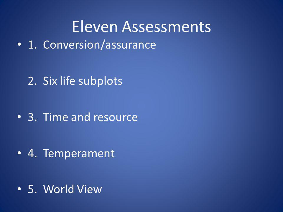 Eleven Assessments 1. Conversion/assurance 2. Six life subplots 3. Time and resource 4. Temperament 5. World View