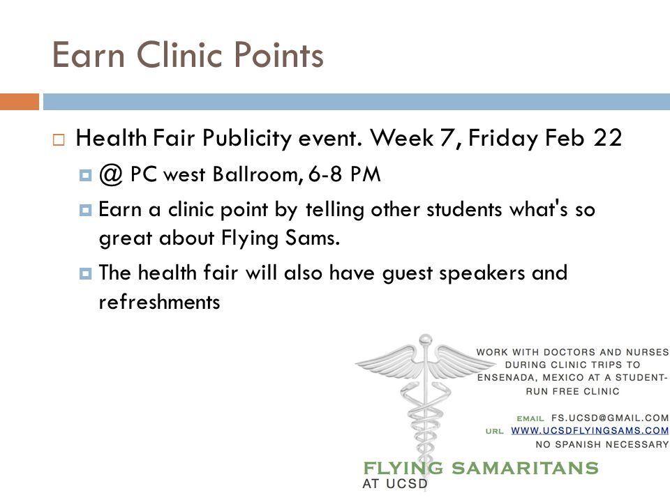 Earn Clinic Points Health Fair Publicity event.
