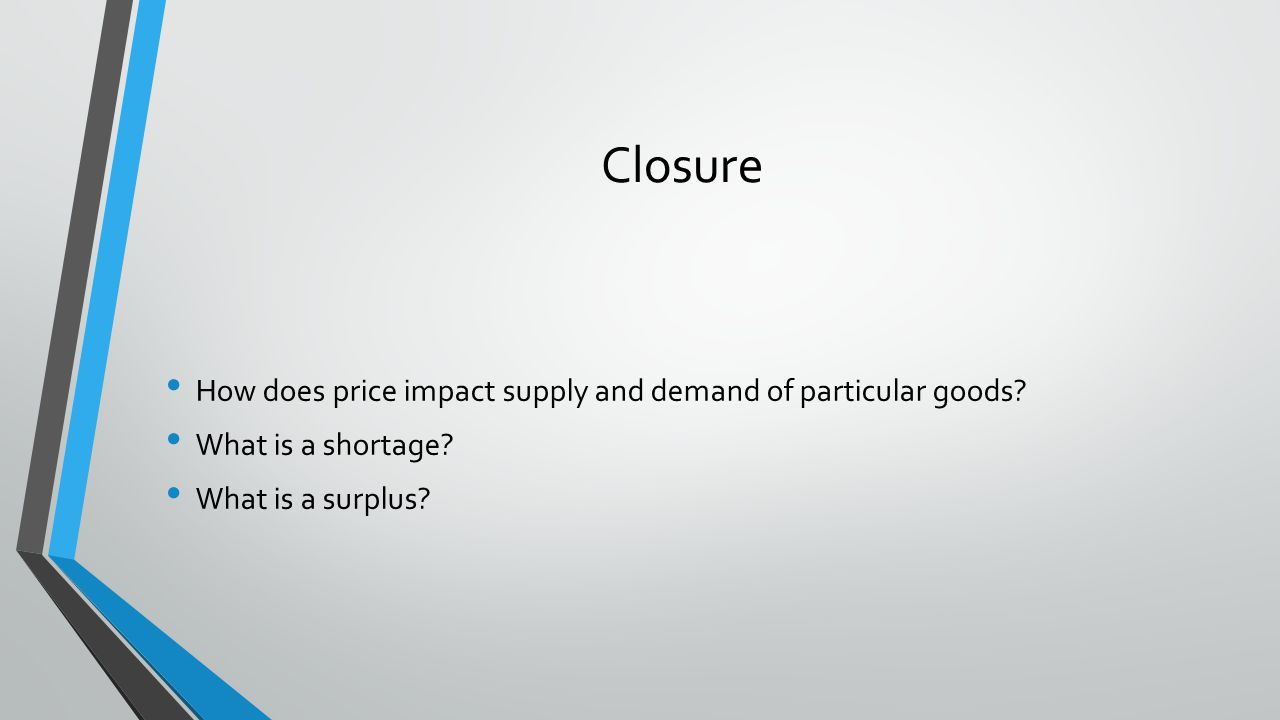 Closure How does price impact supply and demand of particular goods? What is a shortage? What is a surplus?