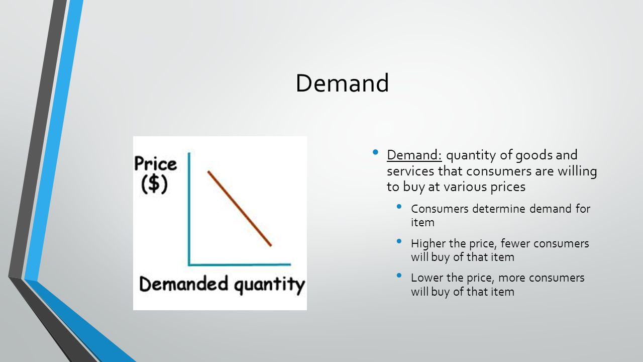 Supply Supply: amount of goods and services that producers will provide at various prices Producers want to receive price for goods and services that will cover their costs and provide a profit Producers will produce a greater quantity as the price of the good increases