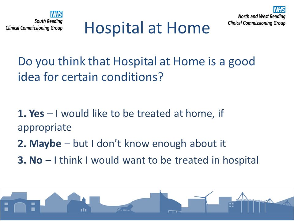 Hospital at Home Do you think that Hospital at Home is a good idea for certain conditions.