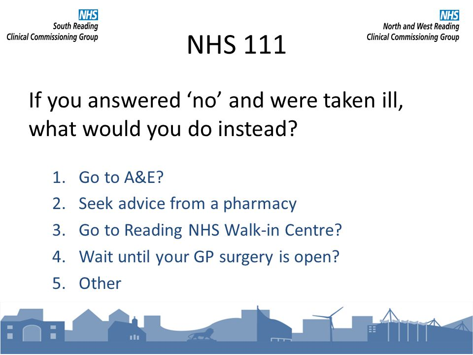 NHS 111 If you answered no and were taken ill, what would you do instead.