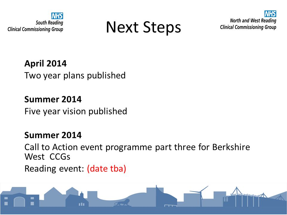 Next Steps April 2014 Two year plans published Summer 2014 Five year vision published Summer 2014 Call to Action event programme part three for Berkshire West CCGs Reading event: (date tba)