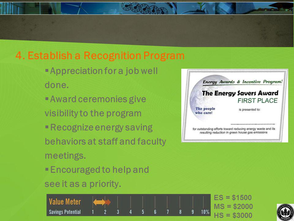 4. Establish a Recognition Program Appreciation for a job well done. Award ceremonies give visibility to the program Recognize energy saving behaviors