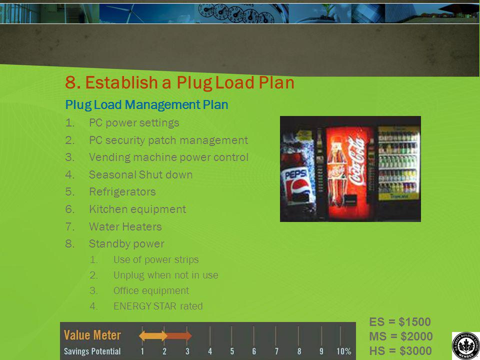 8. Establish a Plug Load Plan Plug Load Management Plan 1.PC power settings 2.PC security patch management 3.Vending machine power control 4.Seasonal