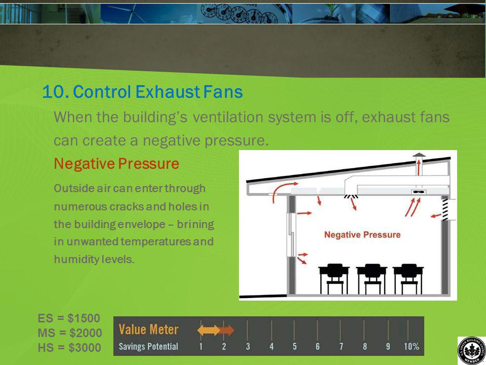 10. Control Exhaust Fans When the buildings ventilation system is off, exhaust fans can create a negative pressure. Negative Pressure Outside air can