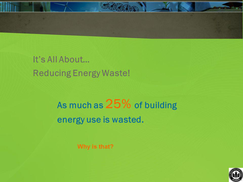 Its All About… Reducing Energy Waste! As much as 25% of building energy use is wasted. Why is that?