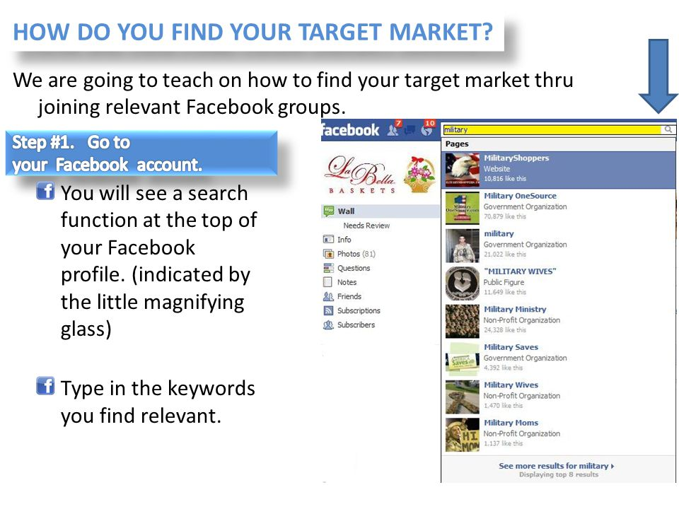 We are going to teach on how to find your target market thru joining relevant Facebook groups. You will see a search function at the top of your Faceb