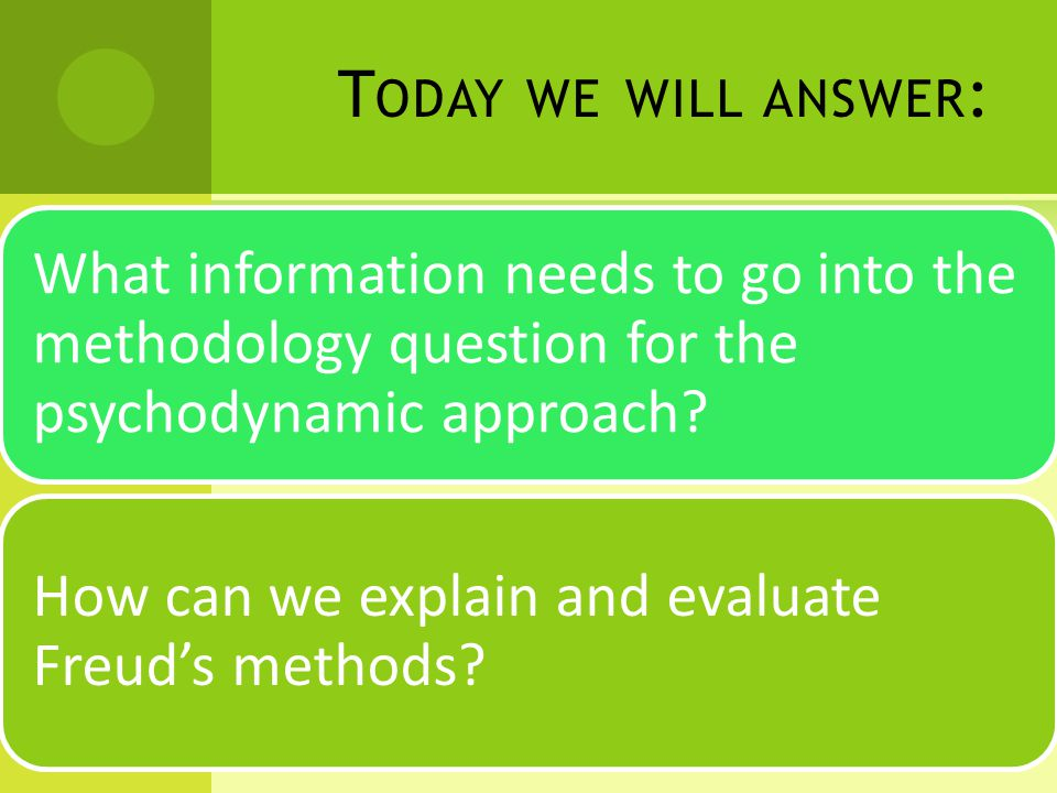 T ODAY WE WILL ANSWER : What information needs to go into the methodology question for the psychodynamic approach.