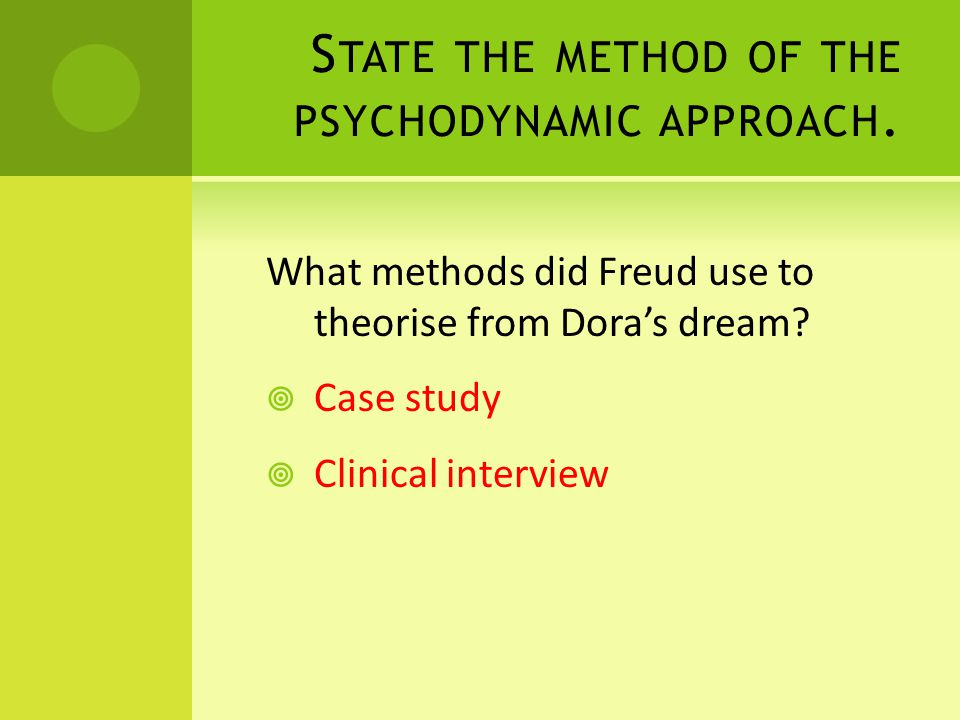S TATE THE METHOD OF THE PSYCHODYNAMIC APPROACH.