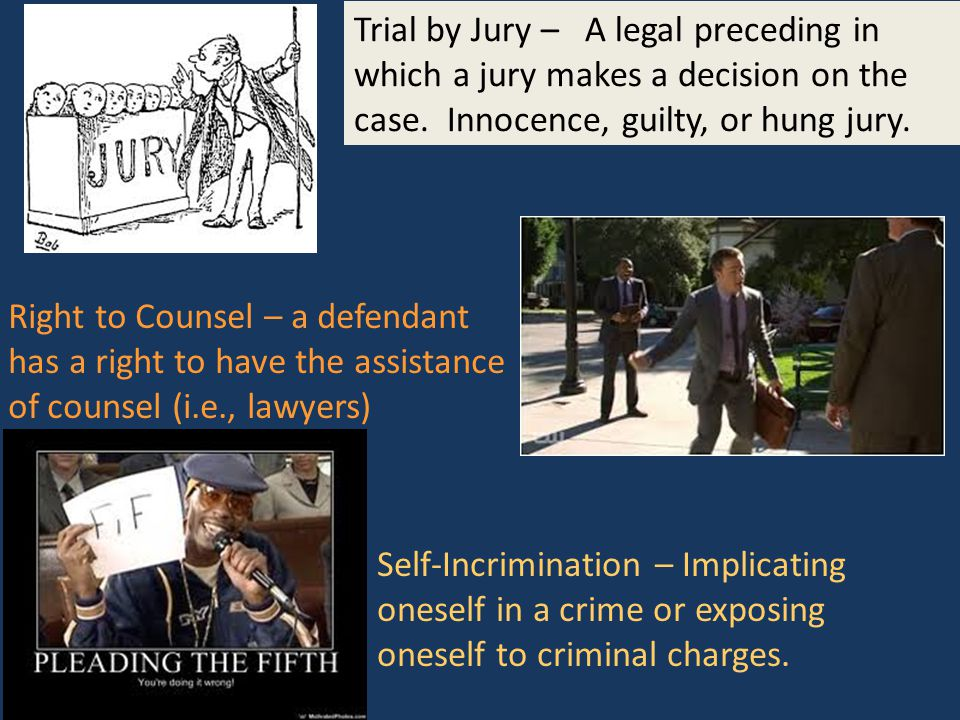 Trial by Jury – A legal preceding in which a jury makes a decision on the case.